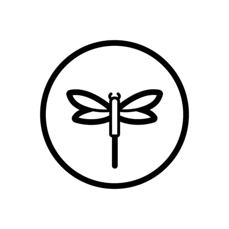 Dragonfly. Outline icon in a circle. Isolated animal illustration Illustration