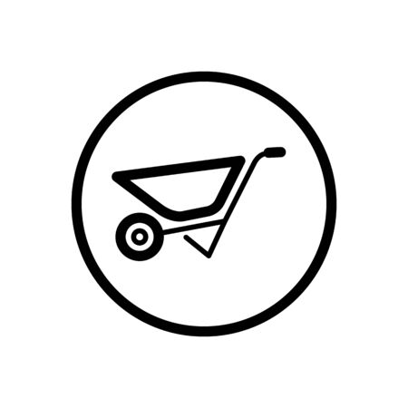 Wheelbarrow. Outline icon in a circle. Isolated gardening vector illustration Illustration
