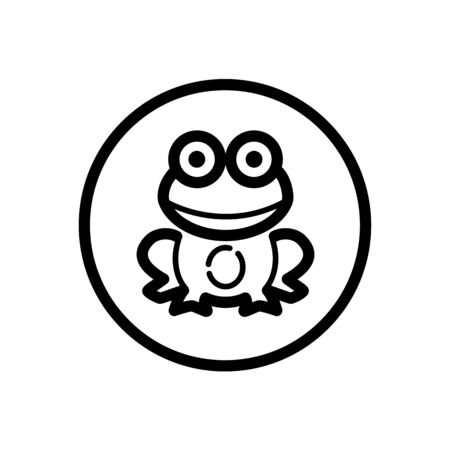 Frog. Outline icon in a circle. Isolated animal illustration