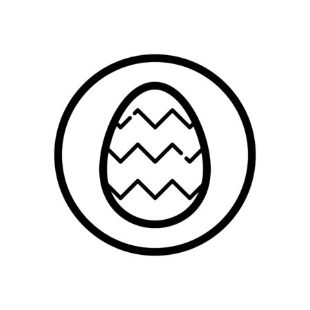 Easter egg. Outline icon in a circle. Isolated celebration illustration
