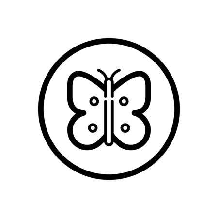 Butterfly. Outline icon in a circle. Isolated animal illustration
