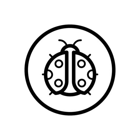Ladybug. Outline icon in a circle. Isolated animal vector illustration Illustration
