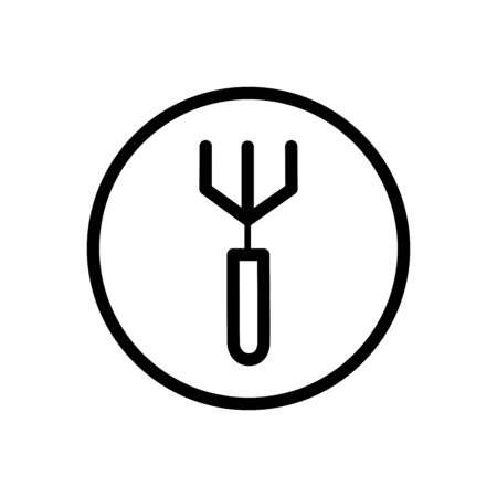 Gardening rake. Outline icon in a circle. Isolated tool vector illustration