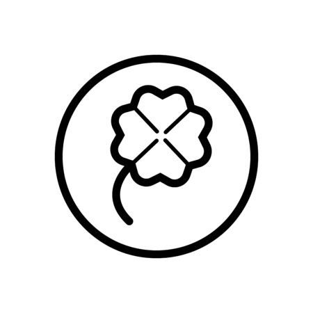 Clover. Outline icon in a circle. Isolated nature illustration