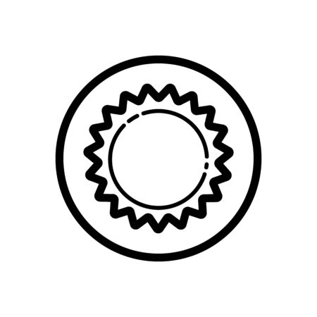 Sun. Outline icon in a circle. Isolated weather illustration Illustration