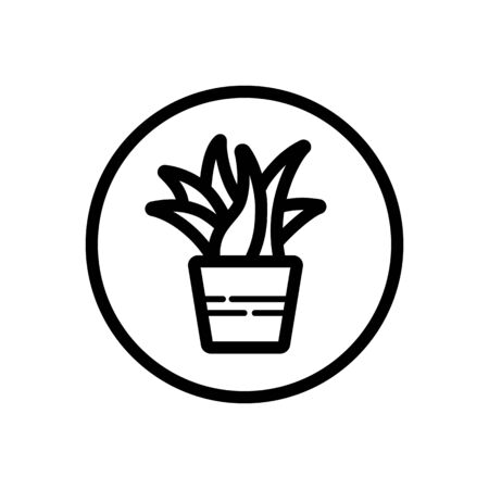 Plant. Outline icon in a circle. Isolated nature  illustration