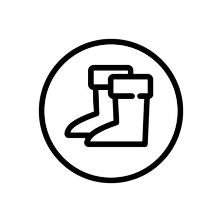 Gardening boots. Outline icon in a circle. Isolated footwear illustration