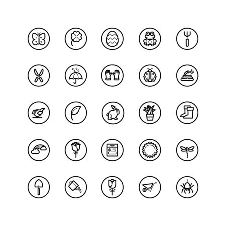 Spring and gardening. Isolated icon set in a circle. Outline vector illustration