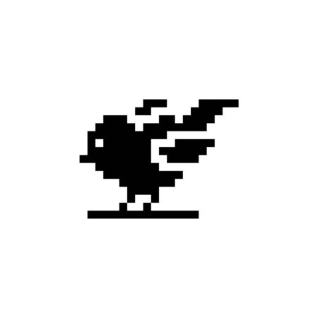 Little bird. Pixel icon. Isolated animal vector illustration Illustration