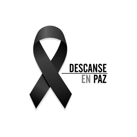 Black ribbon. Rest in peace. Spanish text. Isolated vector illustration Illustration
