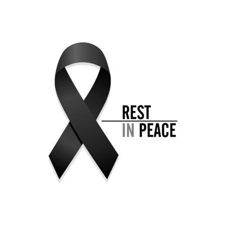 Black ribbon. Rest in Peace. Isolated vector illustration Illustration
