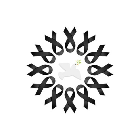 Black ribbon. Wreath with peace dove. Isolated vector illustration Illustration