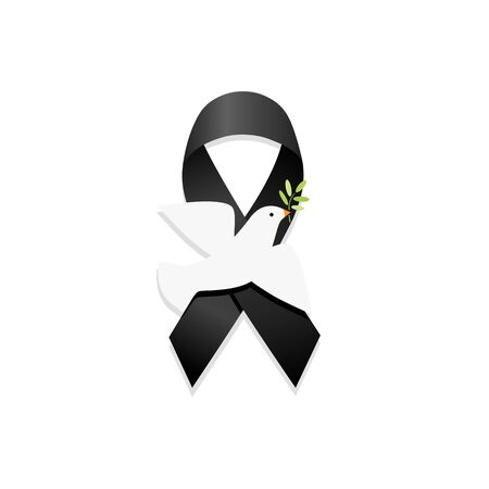 Black ribbon with peace dove. Isolated vector illustration