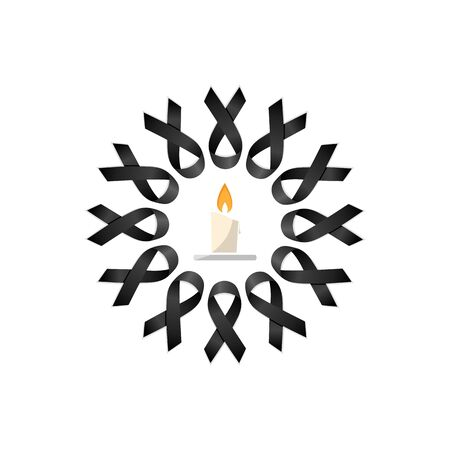 Black ribbon. Wreath with candle. Isolated vector illustration