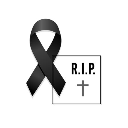 Black ribbon. Rest in Peace with frame. Isolated vector illustration