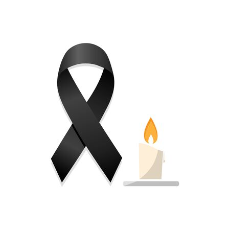Black ribbon with candle. Isolated vector illustration Illustration