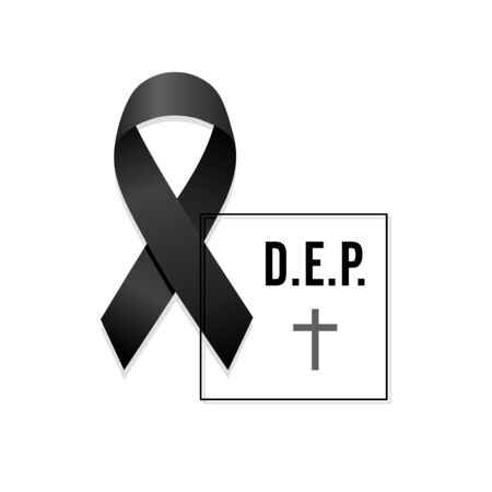 Black ribbon. Rest in peace. Spanish text with frame. Isolated vector illustration