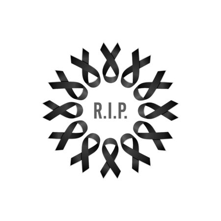 Black ribbon. Rest in peace. Wreath with English text. Isolated vector illustration Illustration