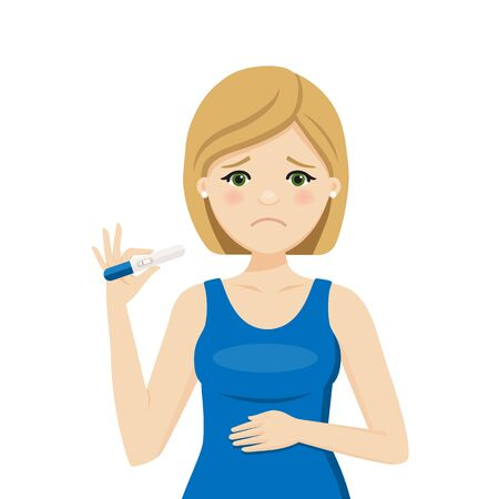 Woman with a negative pregnancy test result. Isolated vector illustration Illustration