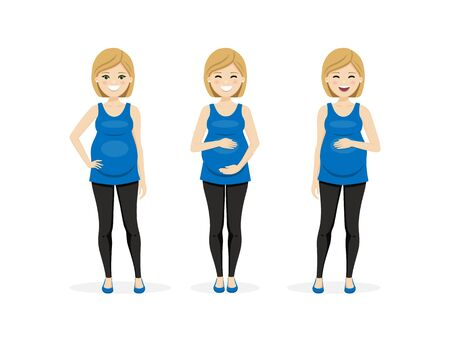 Happy pregnant woman in different poses. Isolated vector illustration Illustration