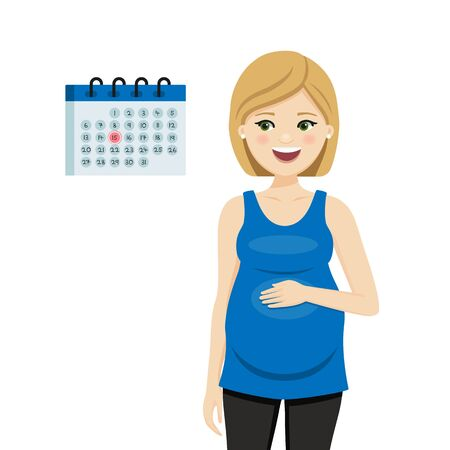 Pregnant woman looking at the calendar. Isolated vector illustration