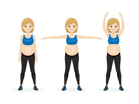 Young beautiful pregnancy woman. Fitness healthy lifestyle. Prenatal exercise. Isolated vector illustration