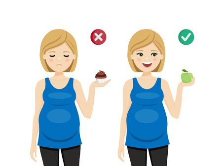 Diet for a healthy pregnancy. Pregnant woman. Isolated vector illustration