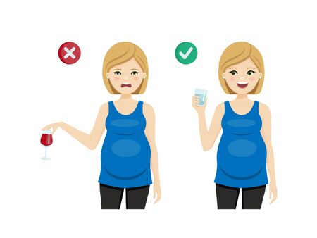 Drinks for a healthy pregnancy. Pregnant woman. Isolated vector illustration