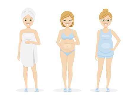 Beautiful pregnant woman in underwear, short clothes and after shower. Isolated vector illustration Illustration