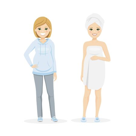 Beautiful pregnant woman with sportwear and after shower. Isolated vector illustration