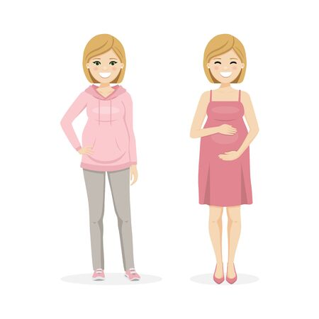 Beautiful pregnant woman with sportwear and dress. Isolated vector illustration