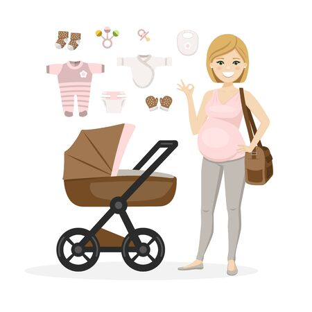 Pregnant woman and baby girl care items. Isolated vector illustration