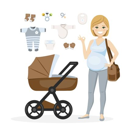 Pregnant woman and baby boy care items. Isolated vector illustration