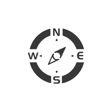 Compass. North east direction. Isolated icon. Weather and map glyph vector illustration