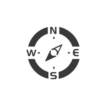 Compass. South west direction. Isolated icon. Weather and map glyph vector illustration Illustration