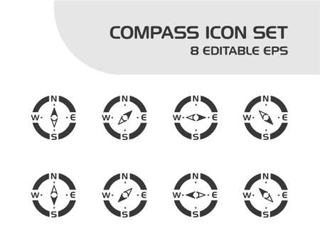 Compass. Isolated icon set. Weather and map vector illustration