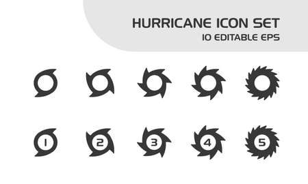 Hurricane categories. Intensity rates. Isolated icon set. Weather and map vector illustration Illustration