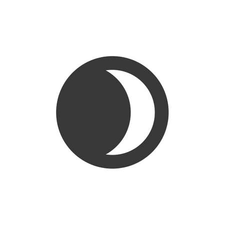 Moon phase. Waxing Crescent. Isolated icon. Weather glyph vector illustration
