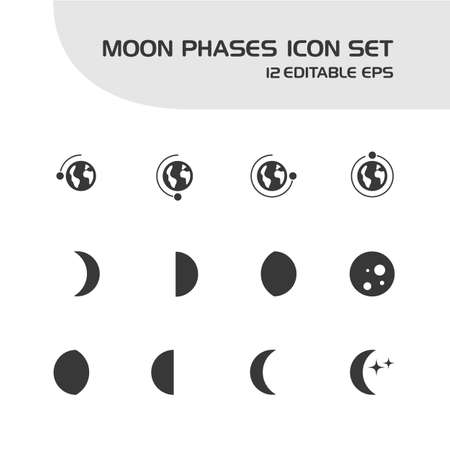 Moon phases. Isolated icon set. Weather and map vector illustration Illustration