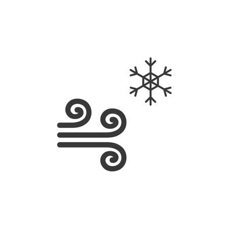 Wind and snow. Isolated icon. Cold weather glyph vector illustration Illustration