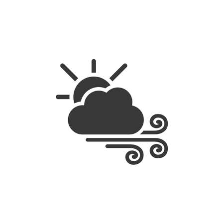 Strong wind, sun and cloud. Isolated icon. Weather glyph vector illustration