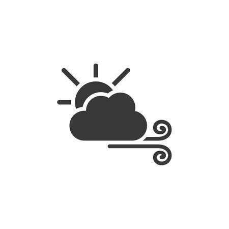 Wind, sun and cloud. Isolated icon. Weather glyph vector illustration Illustration