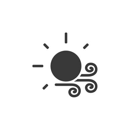 Wind and sun. Isolated icon. Weather glyph vector illustration Illustration
