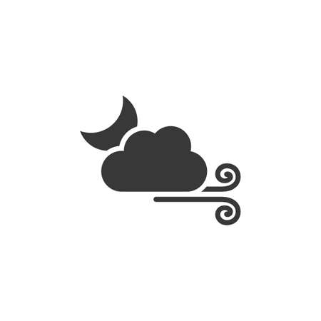 Wind, moon and cloud. Isolated icon. Weather glyph vector illustration
