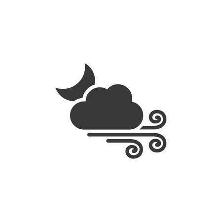 Strong wind, moon and cloud. Isolated icon. Weather glyph vector illustration Illustration