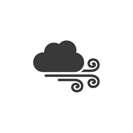 Strong wind and cloud. Isolated icon. Weather glyph vector illustration