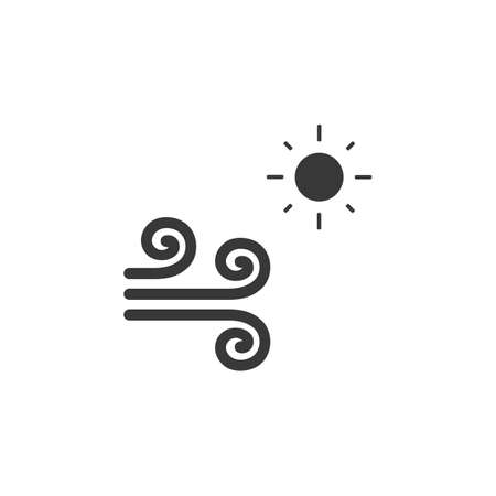 Wind and sun. Isolated icon. Hot weather glyph vector illustration Illustration
