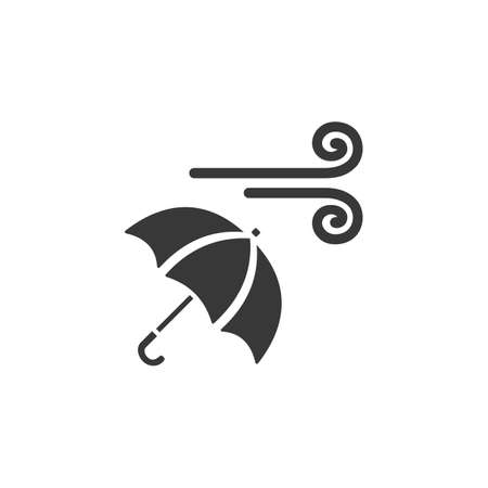 Wind and umbrella. Isolated icon. Weather glyph vector illustration Illustration