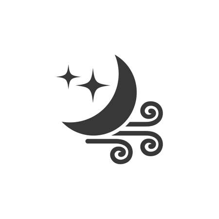 Wind and moon. Isolated icon. Weather glyph vector illustration
