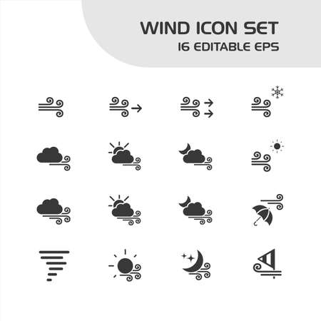 Wind icon set. Isolated group. Weather and map vector illustration